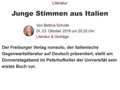 Junge Stimmen aus Italien – Bettina Schulte