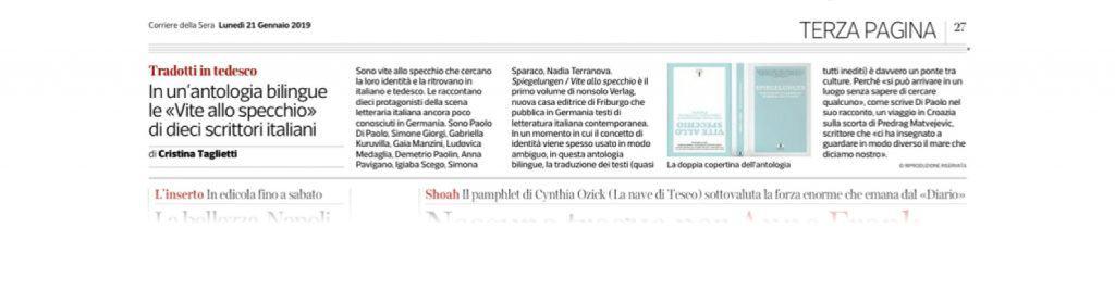 Corriere della Sera: Spiegelungen, zehn neue literarische Stimmen aus Italien