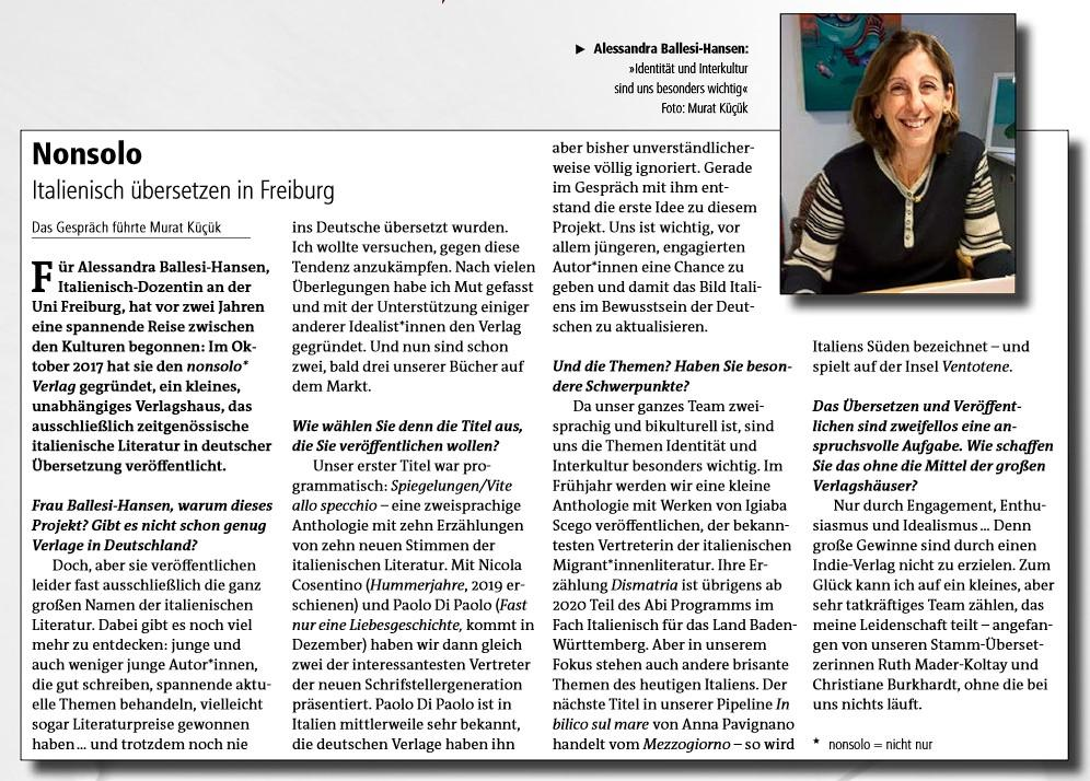 """Murat Küçük interviewt Alessandra Ballesi-Hansen """"Nonsolo: Italienisch übersetzen in Freiburg"""". InZeitung n.29 Winter 2019-20"""