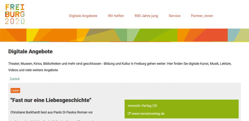 """Freiburg 2020, Digitale Angebote, """"Fast nur eine Liebesgeschichte"""""""