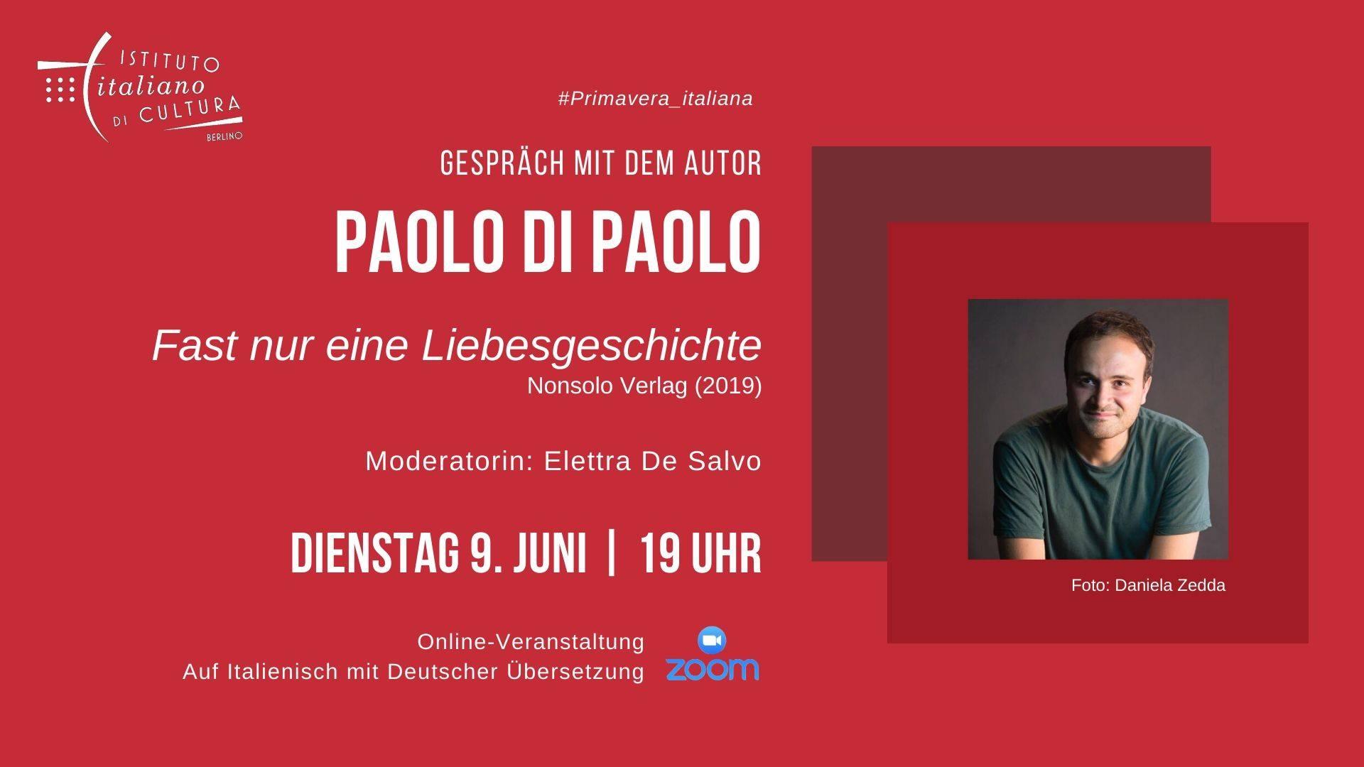 Online-Gespräch mit Paolo Di Paolo am 9. Juni 2020, Live auf Zoom und Facebook