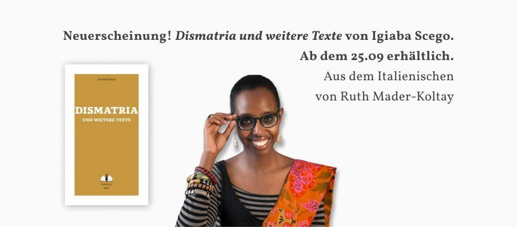 Header Neuerscheinung Dismatria von Igiaba Scego 25.09.2020