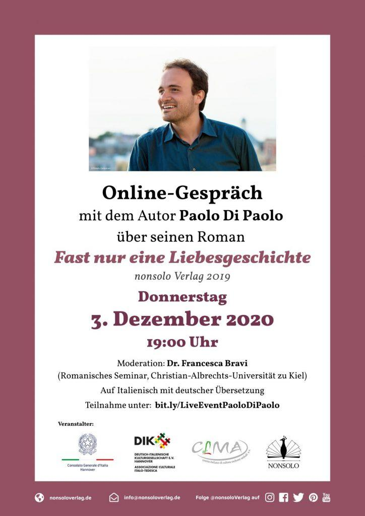 Online Gespräch Paolo Di Paolo 3. Dez. 2020, Poster A4