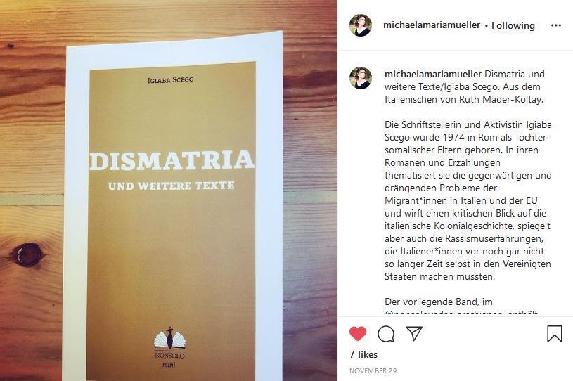 Michaela Maria Müllers Rezension über Dismatria und weitere Texte von Igiaba Scego (Instagram)