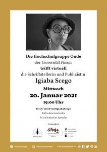 Online Treffen Igiaba Scego Uni Passau 20.01.2021