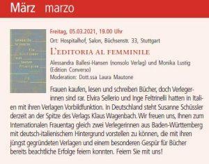 Frauentag mit Verlegerinnen am 05.03.2021 im Italienischen Kulturinstitut Stuttagart
